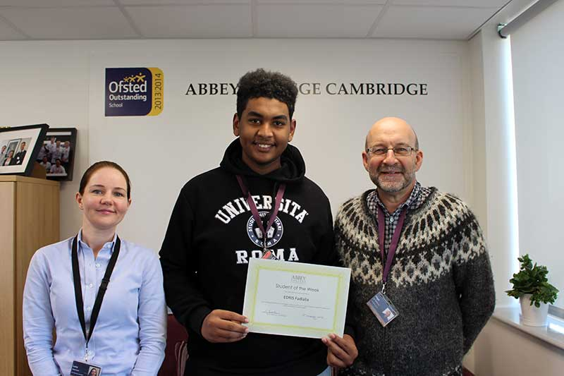 Abbey College Cambridge Student of the Week Edris