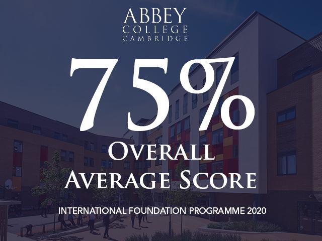 Abbey College Cambridge Foundation Average Score in 2020 is 75%