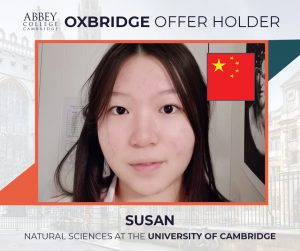 Abbey College Cambridge Oxbridge Offer 2021 Susan from China