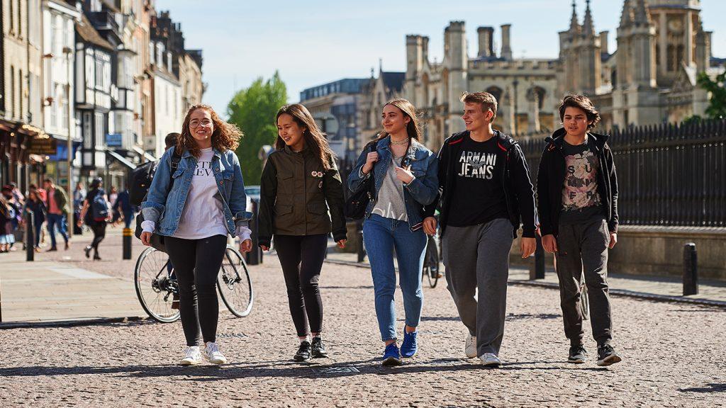Abbey College Cambridge Students Walking In Cambridge City Centre